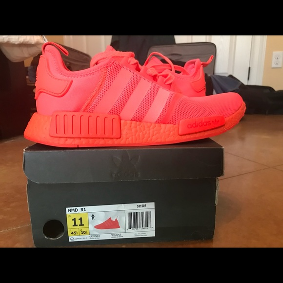 """detailed look 9a007 1f4b2 Nmd r1 Solar Red """"Solar Red Nmds"""" size 11"""